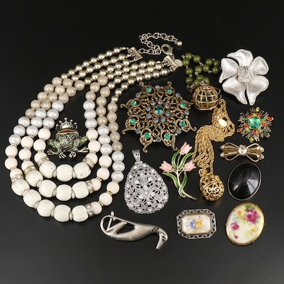Vintage Assorted Jewelry Including Reverse Painted Glass and Rhinestones