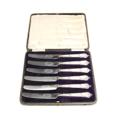 John Biggin Sterling Silver Knife Set in Presentation Case, 1905