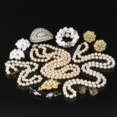 Rhinestone, Glass and Imitation Pearl Jewelry Featuring Crown Trifari and Monet