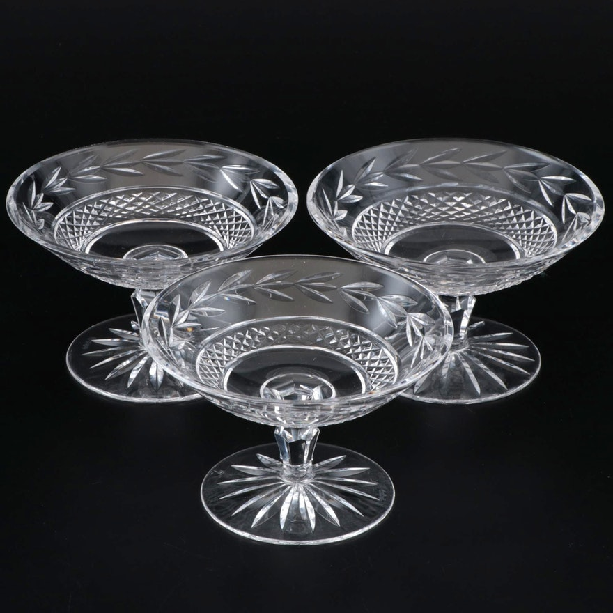 """Waterford Crystal """"Glandore"""" Round Compotes, Late 20th Century"""