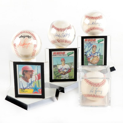 Concepcion, McEnaney, Eastwick and Zachry Signed Baseballs and Cards  COA