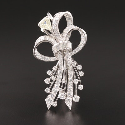 1950s Platinum 6.76 CTW Diamond Ribbon Brooch