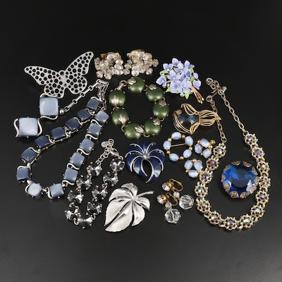 Vintage Assorted Jewelry Including Givre Glass and Rivoli Rhinestones