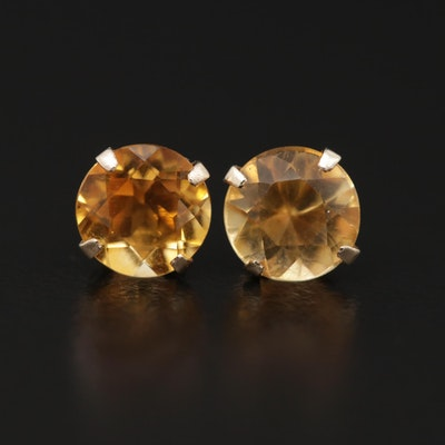 14K Yellow Gold Citrine Stud Earrings