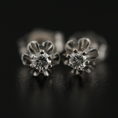 14K White Gold 0.10 CTW Diamond Stud Earrings