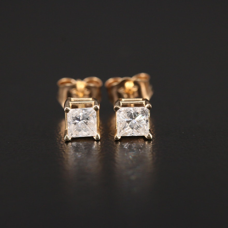 14K Yellow Gold 0.50 CTW Diamond Stud Earrings