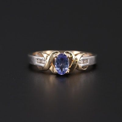 14K White Gold Tanzanite and Diamond Ring with Yellow Gold Accents