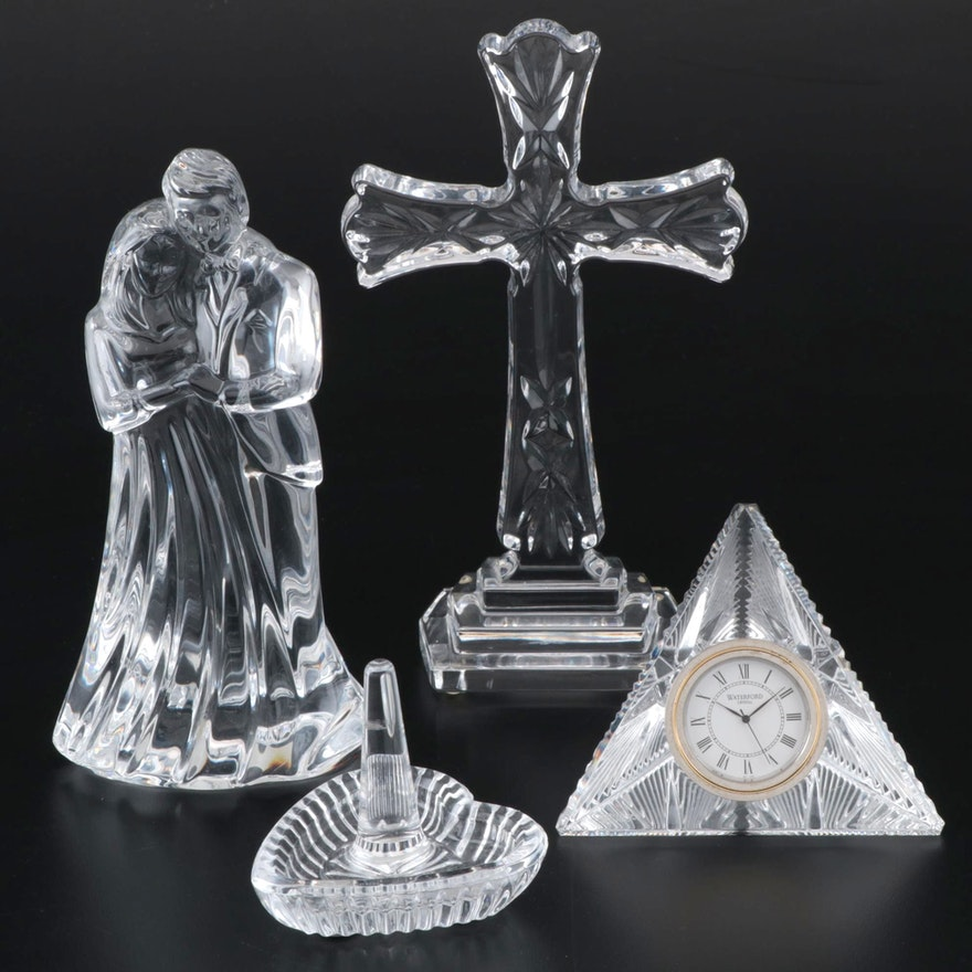 Waterford Crystal Figurines, Ring Holder and Desk Clock