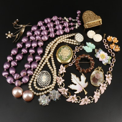 Vintage Assorted Jewelry Including Early Plastic and Rhinestones