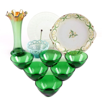 Northwood Carnival Glass Vase with Depression Glass Table Accessories and More