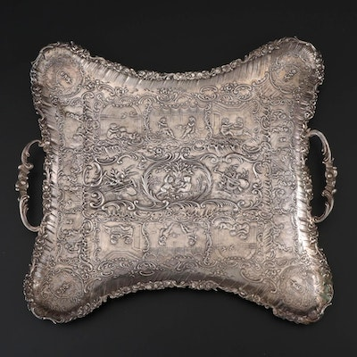 German Dutch Baroque Style 800 Silver Footed Tray