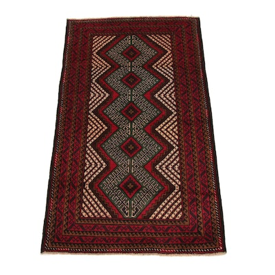 2'10 x 4'10 Hand-Knotted Persian Balouch Rug, 2000s