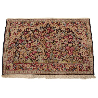 2'2 x 3'1 Fine Hand-Knotted Persian Lavar Kerman Pictorial Rug, 1930s