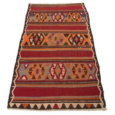 4'8 x 9' Handwoven Northwest Persian Kilim Rug, 1930s