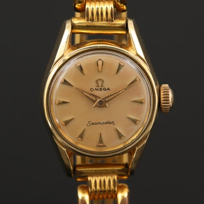 Vintage Omega Seamaster Gold Tone Stem Wind Wristwatch, Circa 1957