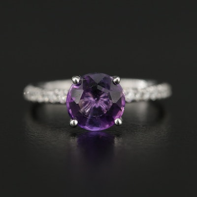14K White Gold Amethyst and White Sapphire Ring