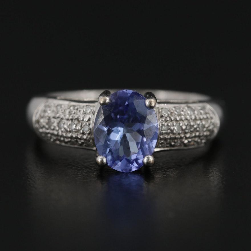 18K Gold Tanzanite and Diamond Ring