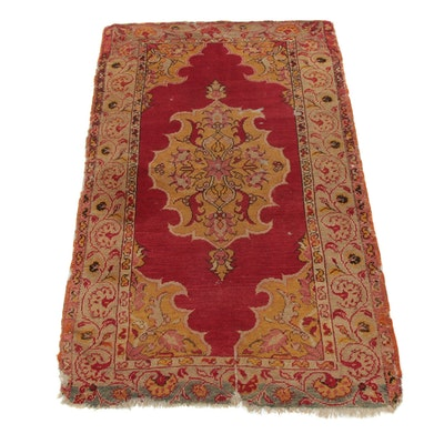 3'2 x 5'2 Hand-Knotted Turkish Village Rug, 1900s