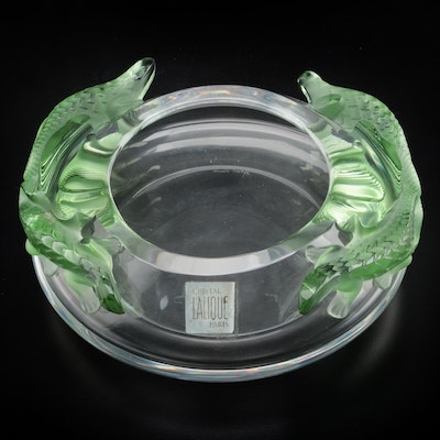 "Lalique ""Bamako"" Green Lizards on Clear Crystal Bowl"