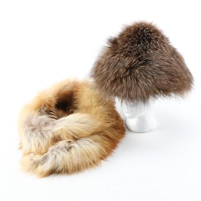 Fox Fur Hat from Flemington Furs with Red Fox Fur Collar, Vintage