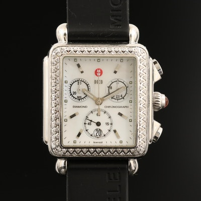 Michele Deco Stainless Steel Diamond Chronograph Wristwatch with Date