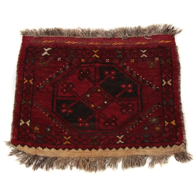1'8 x 1'11 Hand-Knotted Persian Primitive Turkoman Rug, 1920s