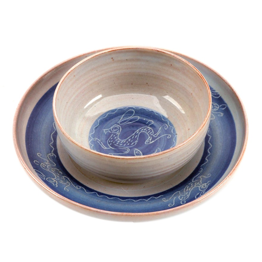 Edwin and Mary Scheier Zapotec Style Ceramic Bowl and Plate