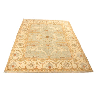 8'11 x 12' Hand-Knotted Indo-Turkish Oushak Rug, 2010s