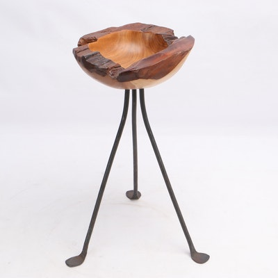 Wood Bowl with Cast Iron Legs by Karl Dye, 2014