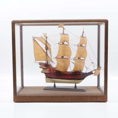 Spanish Three-Masted Galleon in Glass Display Case