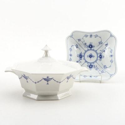 "Royal Copenhagen ""Blue Fluted Plain"" Porcelain Vegetable Bowl with Castleton"