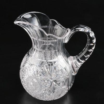 """J. Hoare """"Monarch"""" American Brilliant Period Cut Glass Pitcher"""