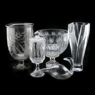 Liberia Glass Vase with Etched Fern Motif Footed Bowl and Other Glassware