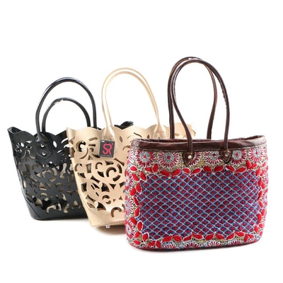 Sondra Roberts Laser Cut Vinyl Totes with Embroidered Straw Tote