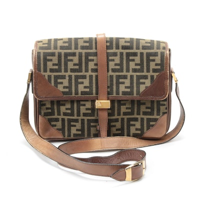 Fendi Zucca Canvas and Leather Trim Flap Front Shoulder Bag