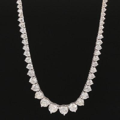 18K White Gold 9.07 CTW Diamond Riviera Necklace