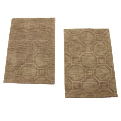 2' x 3' Hand-Knotted Mid Century Modern Style Indo Sculpted Rugs, 2010s