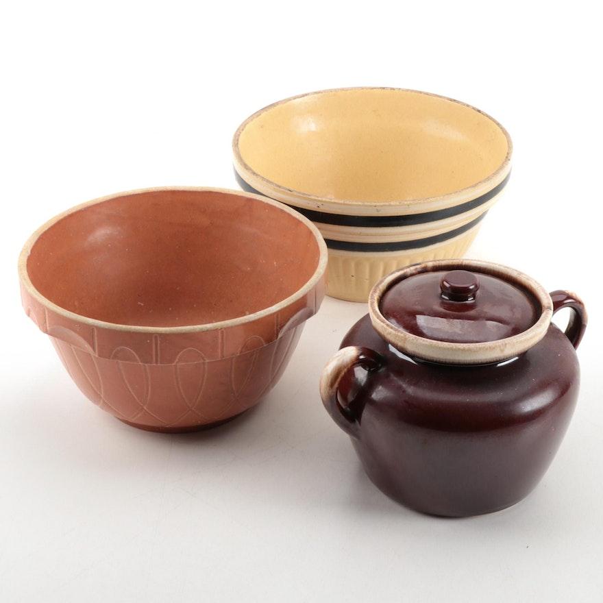 Mixing Bowls and a McCoy Bean Pot