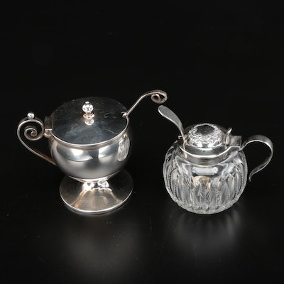Wilcox Co. Sterling Silver and Cut Glass Mustard Jar with Other Condiment Pot