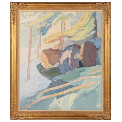 "David Lund Monumental Modernist Landscape Oil Painting ""Grove"", 1976-78"