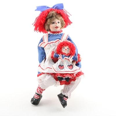 Kelly Ru Bert Porcelain Doll with Raggedy Ann Doll Late 20th Century