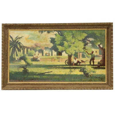 Harold Miles Oil Painting of Garden Landscape, Early to Mid 20th Century