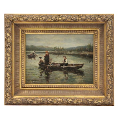 Continental School Style Oil Painting of Fishing Scene, Late 20th Century