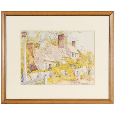 "Emma Mendenhall Watercolor Painting ""St. George Tucker House, Williamsburg"""