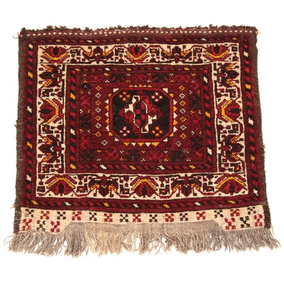 1'10 x 2' Hand-Knotted Persian Kurdish Floor Mat Rug, 1920s
