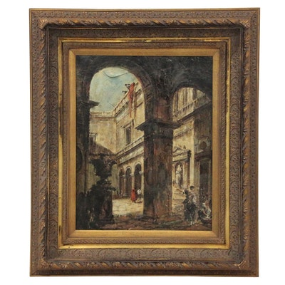 "Oil Painting after Francesco Guardi ""An Architectural Capriccio"""