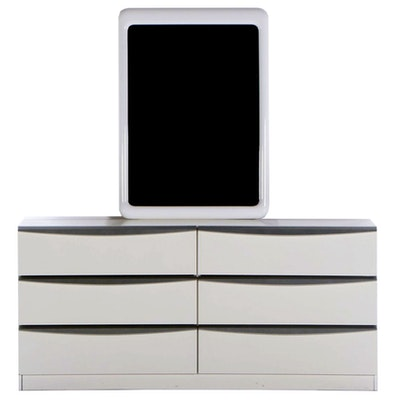 SanGiacomo Modernist Style White Gloss Lacquer and Silver Chest with Mirror