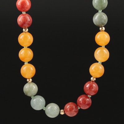 14K Yellow Gold Jadeite Endless Necklace