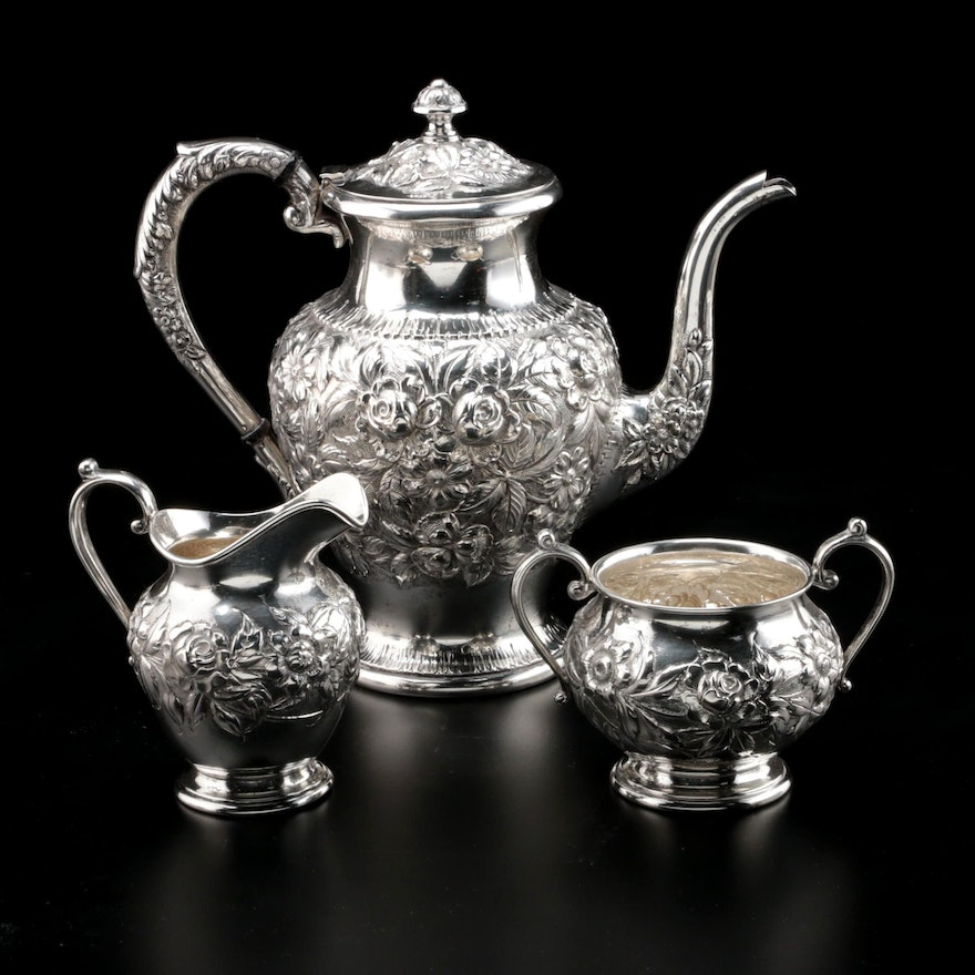 "S. Kirk & Son ""Repousse Partial Chased"" Sterling Silver Three-Piece Tea Set"