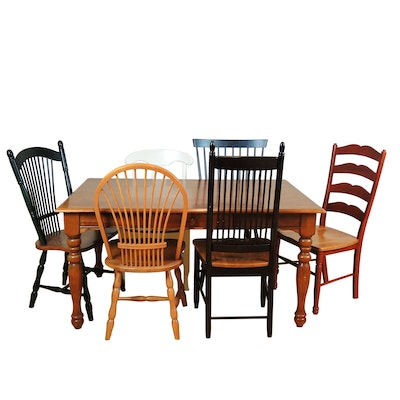 Matched Seven Piece Primitive Style Dining Group